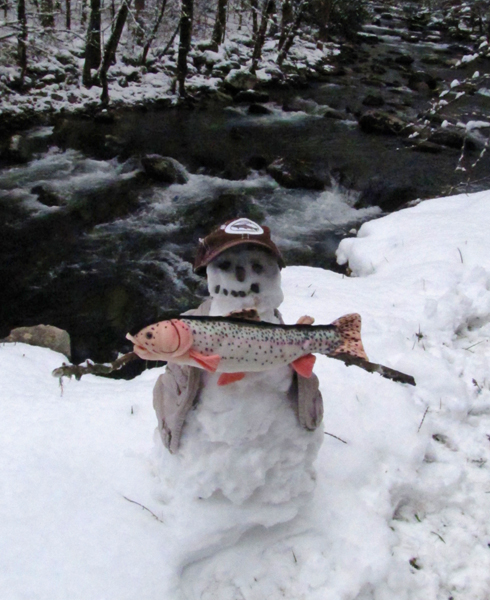 Trout Fishing Snowman